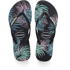 havaianas Slim Tropical Floral Sandaler Damer, black/black/daybreak
